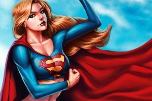 artwork long hair cape supergirl women superheroines fantasy girl