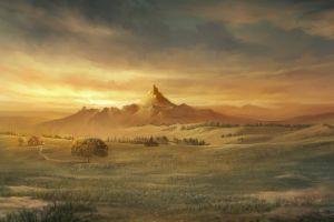 artwork mountains landscape
