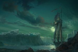 artwork nature sailing ship vehicle ship