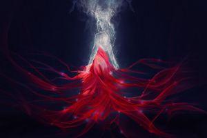 artwork red fantasy art simple background digital art fantasy girl