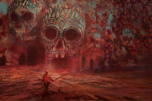 artwork red skull fantasy art surreal cave