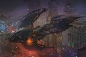 artwork science fiction cityscape vehicle futuristic