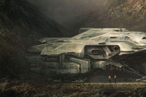 artwork science fiction spaceship