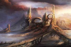 artwork sky landscape fantasy art