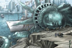 artwork superhero statue of liberty x-men