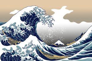 artwork the great wave off kanagawa asia nature sea blue
