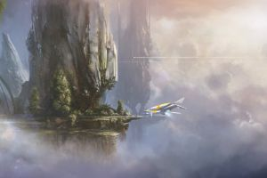 artwork vehicle nature science fiction digital art