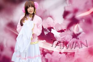 asia dress long hair auburn hair asian redhead looking at viewer taiwan cosplay standing