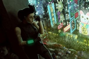 asia tattoo women futuristic gun cyberpunk