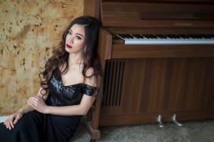 asian dress black dress piano women