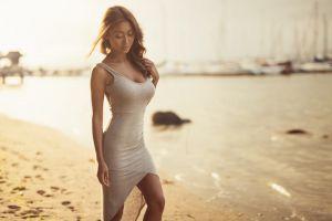 asian jason harynuk dress beige bright model sunlight tight dress beach brunette women