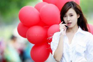 asian looking away open mouth balloon white shirt brunette women brown eyes long hair