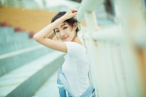 asian women arms up model
