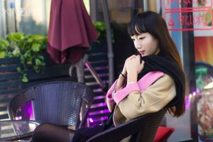 asian women women outdoors brunette long hair scarf sitting thinking profile