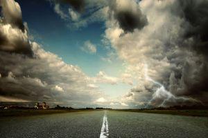 asphalt clouds road sky