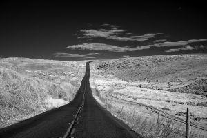 asphalt road monochrome landscape