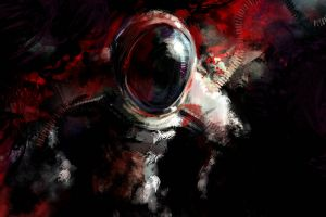 astronaut digital art artwork dark