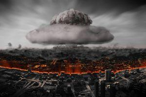 atomic bomb smoke selective coloring cityscape apocalyptic