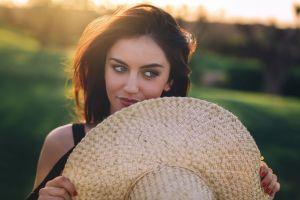 aurela skandaj blue eyes millinery women face portrait brunette depth of field looking away hat