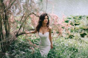 aurela skandaj garden blue eyes model david olkarny women brunette white dress