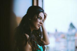 aurela skandaj long hair women face model brunette blue eyes