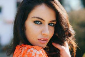 aurela skandaj model brunette portrait face blue eyes women women outdoors