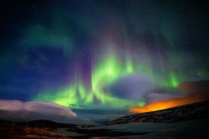 aurorae skyscape nordic landscapes winter landscape