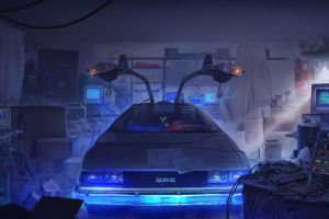 back to the future delorean digital art time travel
