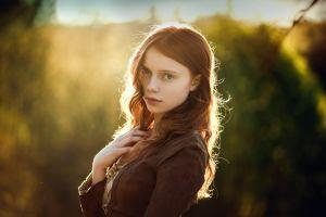 backlighting long hair face women ekaterina yasnogorodskaya blue eyes looking at viewer model redhead portrait