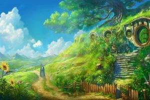bag end the lord of the rings bilbo baggins landscape