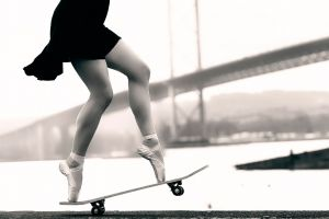 ballet slippers bridge ballerina women women outdoors skateboard
