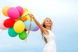 balloon smiling long hair women simple background armpits colorful white dress blonde