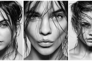 barbara palvin model collage brunette monochrome long hair women face blonde hungarian