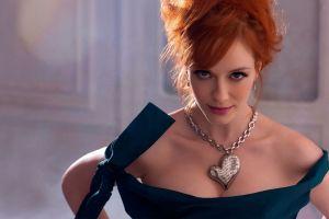bare shoulders actress blue eyes face dress necklace blue dress christina hendricks looking at viewer women redhead