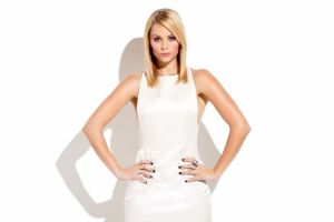 bare shoulders blonde laura vandervoort long hair hands on hips white dress actress simple background women white background blue eyes shadow looking at viewer