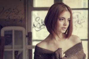 bare shoulders brunette short hair lips lidia savoderova women