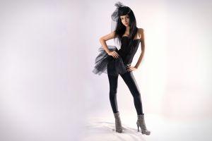bare shoulders long hair black clothing model blue eyes leggings women corset hands on hips black hair high heeled boots