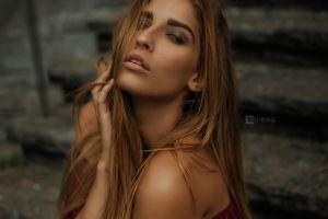 bare shoulders sensual gaze women wojtek pruchnicki open mouth portrait model auburn hair