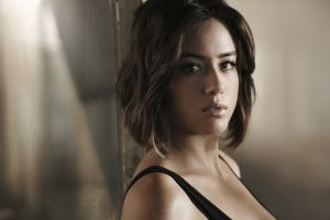 bare shoulders tank top s.h.i.e.l.d. women agents of s.h.i.e.l.d. looking at viewer brown eyes chloe bennet open mouth brunette depth of field face actress