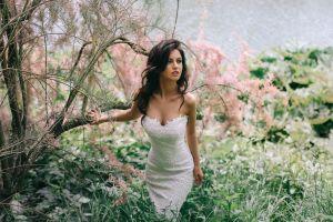 bare shoulders women dress plants brides white dress brunette long hair blue eyes aurela skandaj women outdoors trees nature