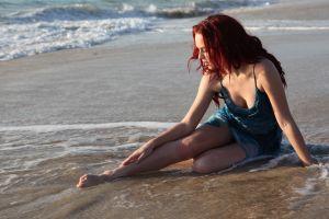 barefoot beach model sand women