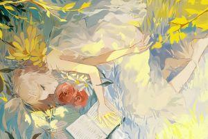 barefoot blue eyes ribbon hair ornament flowers vocaloid white dress kagamine rin anime girls water dress lying down books bangs short hair