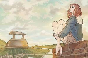 barefoot sitting flcl anime girls anime