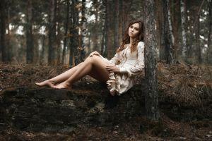 barefoot women outdoors women looking away trees brunette forest nature sitting model long hair
