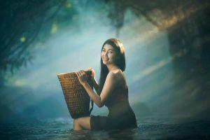 baskets women model water asian women outdoors