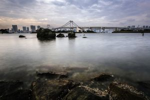 bay rainbow bridge japan city tokyo bridge