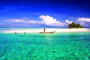 beach atolls sea tropical sand