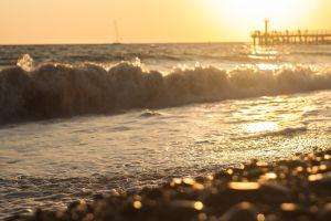 beach coast sea sunlight waves