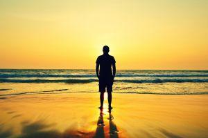 beach horizon sea nature men alone
