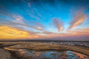 beach landscape clouds sunset lake